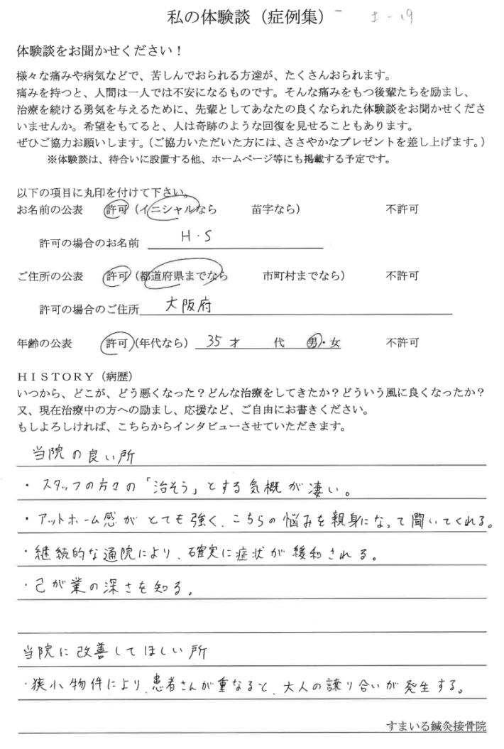 H・S様 大阪府 35歳 男性