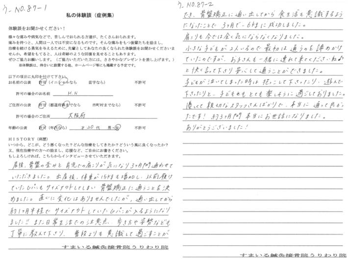 M・N様 大阪府 20歳 女性 産後の骨盤の歪み