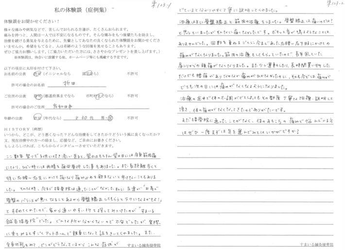 折田様 岸和田市 30代 女性 足から腰の痛み